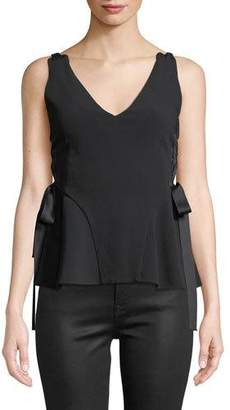 Jonathan Simkhai Grommet Crepe Sleeveless Lace-Up Top