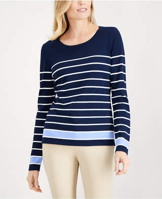 Karen Scott Thin-And-Thick Striped Top