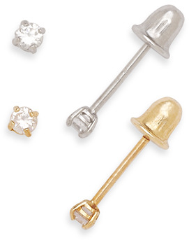 Bed Bath & Beyond 14K Yellow or White Gold Children's Cubic Zirconia Screw-Back Earrings