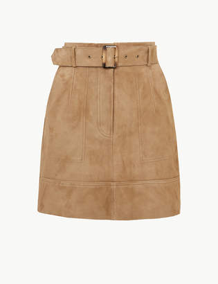 Marks and Spencer Suede Belted A-Line Mini Skirt