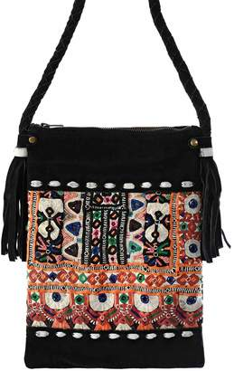 Vintage Addiction Black Suede And Vintage Fabric Crossbody Bag