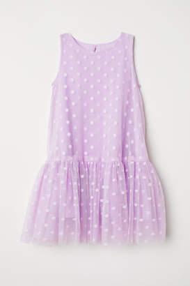 H&M Flared Mesh Dress - Purple