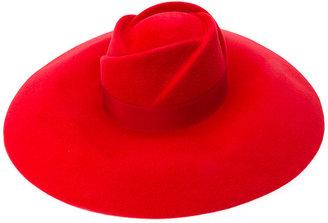 rose detail wide brim hat