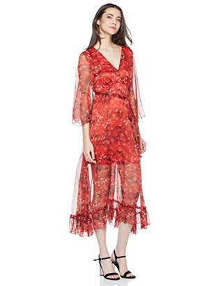Elise Bloom Women's Boho Floral Prints V Neck Vacation Dress Long Dress