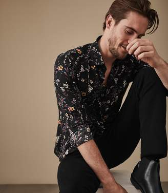 Reiss FINO FLORAL SHIRT Black