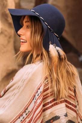 francesca's Sandrina Twist Feathers Felt Hat - Navy
