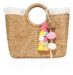 JADEtribe Square Fringed Basket Beach Bag