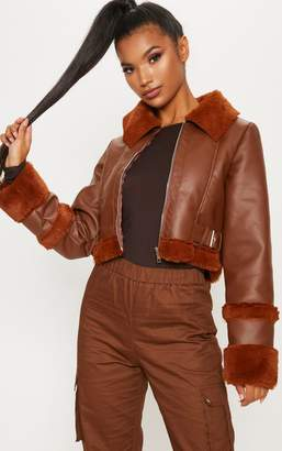 PrettyLittleThing Tan Faux Fur Trim Cropped Aviator