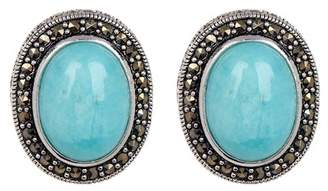 Savvy Cie Sterling Silver Cabochon Amazonite & Halo Set Marcasite Stud Earrings