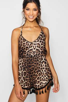boohoo Leopard Print Tassel Trim Playsuit