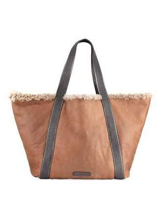 Brunello Cucinelli Reversible Shearling Fur Tote Bag