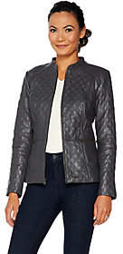 Isaac Mizrahi Live! Leather Mixed Quilting ZipFront Jacket