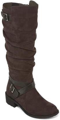 ST. JOHN'S BAY Womens Debra Riding Block Heel Zip Boots