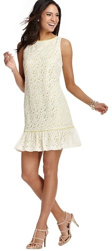 LOFT Flounce Hem Lace Dress
