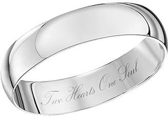 Theia Unisex 9ct White Gold Heavy D Shape Engraved 'Two Hearts One Soul' Polished 4mm Wedding Ring - Size W