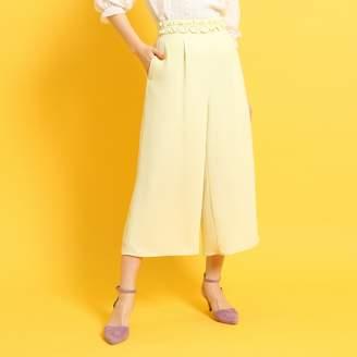 Couture Brooch (クチュール ブローチ) - クチュール ブローチ Couture brooch 【洗える】ウエストフリルガウチョパンツ (イエロー)