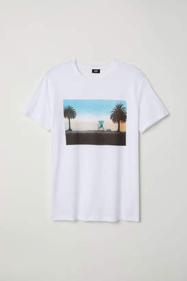 H&M T-shirt with Printed Motif - White