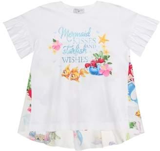 MonnaLisa Printed stretch-cotton top