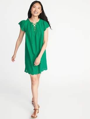 Old Navy Lace-Up-Yoke Cutwork Swing Dress for Women