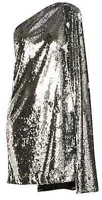 Stella McCartney Women's Asymmetric Messy Sequin Cape Shift Dress