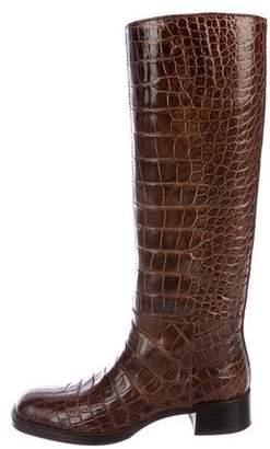 Prada Crocodile Knee-Length Boots