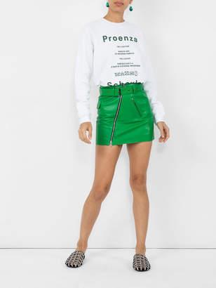 Sonia Rykiel Green belted leather mini skirt