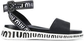 Miu Miu logo platform sandals