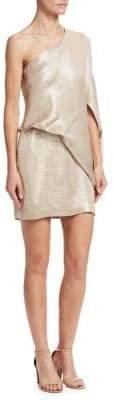 Halston One-Shoulder Jacquard Sheath Dress