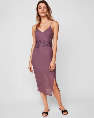 Express Twist Front Sheer Rib Sheath Dress