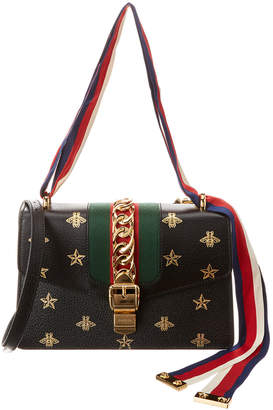 Gucci Sylvie Small Bee & Star Leather Shoulder Bag