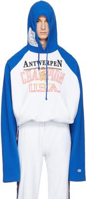 Vetements Blue Champion Edition Antwerpen Hoodie $1,140 thestylecure.com