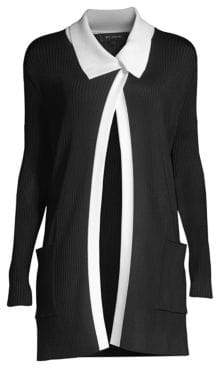 St. John Plaited Rib-Knit Asymmetrical Knit Cardigan