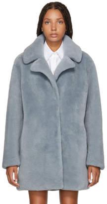Yves Salomon Meteo Blue Curly Lamb Shearling Coat