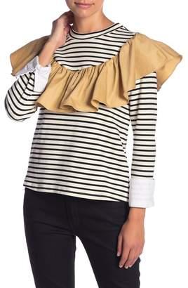 ENGLISH FACTORY Striped Contrast Ruffle Long Sleeve Shirt