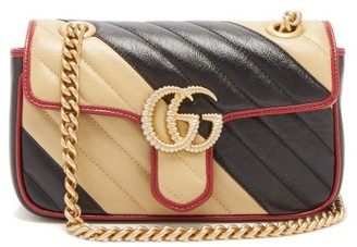Gucci Gg Marmont Two Tone Leather Cross Body Bag - Womens - Black White