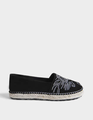 Kenzo Tiger All Over Suede Espadrilles in Black Suede and Jute