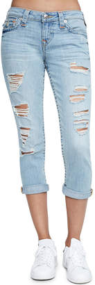 True Religion Rolled-Cuff Distressed Capri Jeans