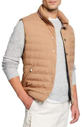 Brunello Cucinelli Men's Snap Vest with Removable Hood