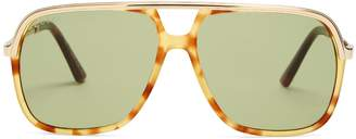Aviator-frame Web-striped sunglasses