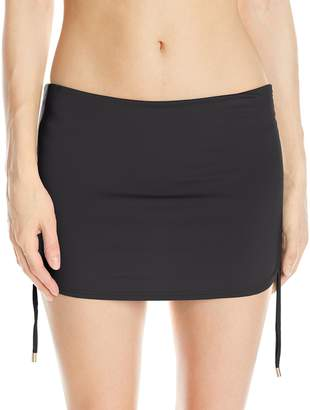 Calvin Klein Women's Solid Side Shirred Skirted Bikini Bottom