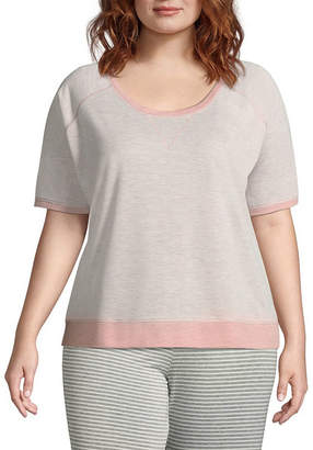 Ambrielle French Terry Short Sleeve Pajama Top-Plus