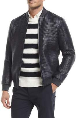 Theory Sterling Woven-Leather Jacket