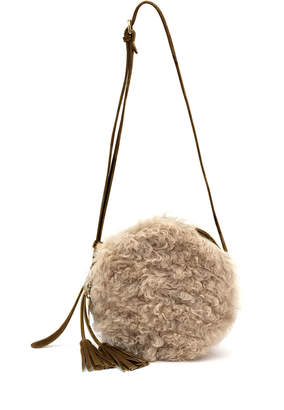 Il Bisonte Disco Circle Lamb Shearling & Leather Crossbody Bag