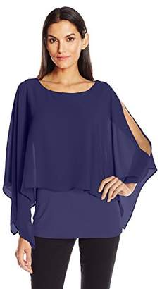 NY Collection Women's 3/4 Slvsld Poncho Layer W Knit Underlay