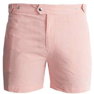 Solid & Striped The Kennedy Striped Seersucker Swim Shorts - Mens - Pink