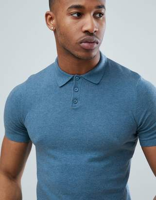 Asos Design Knitted Polo T-Shirt In Light Blue