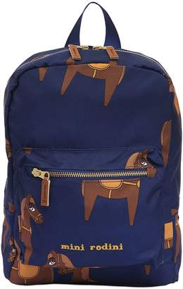 Mini Rodini Horse Print Nylon Canvas Backpack