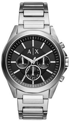 Armani Exchange Chronograph Drexler Stainless Steel Leather Strap Watch
