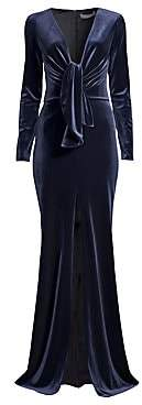 PatBO Women's Velvet Plunging Long Sleeve Gown