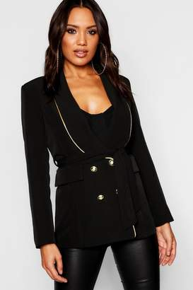 boohoo Woven Military Gold Piping Double Breasted Blazer